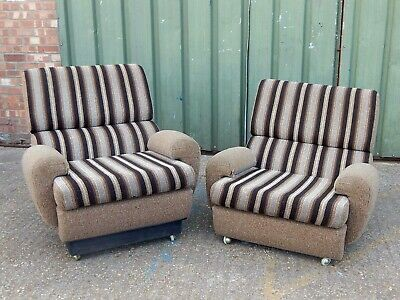 Pair retro vintage striped flannelette lounge armchair upholstered club chairs
