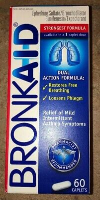 Bronkaid Caplets - 60ct. for ASTHMA - Exp 02/2020 - One Box
