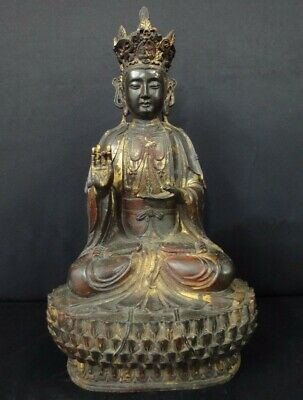 """Very Large Old Chinese Gilt Bronze """"GuanYin"""" Buddha Statue Good Quality!"""