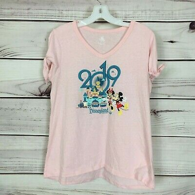 Disney Parks Women's M Pink 2019 Disneyland Mickey Mouse & Minnie Mouse T Shirt