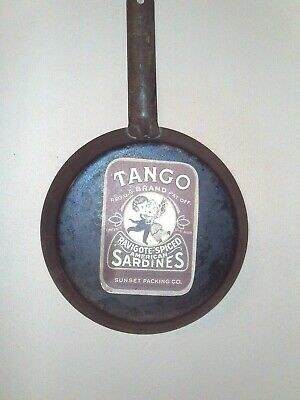 """Primitive ANTIQUE early 1900s Cold Handle skillet 8"""" Fireplace Camp Cook"""