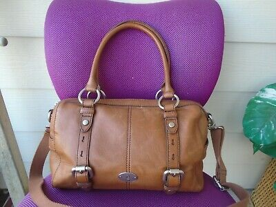 Authentic Fossil brown leather large satchel handbag