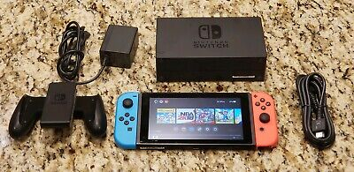 Nintendo Switch 32GB Black Console w/Neon Red & Blue Joy-Controllers & Dock