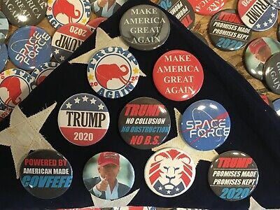 "(x10) Super MAGA Pack! Donald Trump 2.25"" Buttons Pins 10 Set Campaign MAGA 2020"