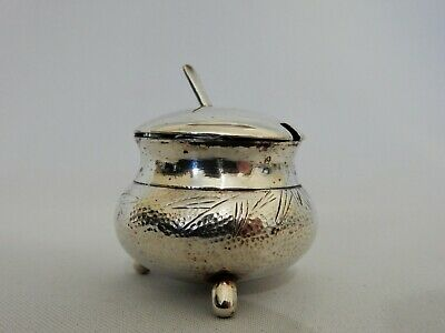 Antique Vintage Sterling Silver Hong Kong Mustard Salt Dish Pot Jar Oriental