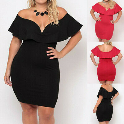 Fashion Sexy Womens Plus size Cold Should Solid Backless Bodycon Irregular Dress