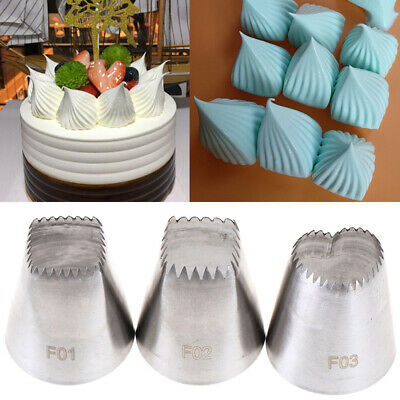 3pcs Square Heart Icing Piping Nozzles Russian DIY Cream Cake Pastry Tips Tool H