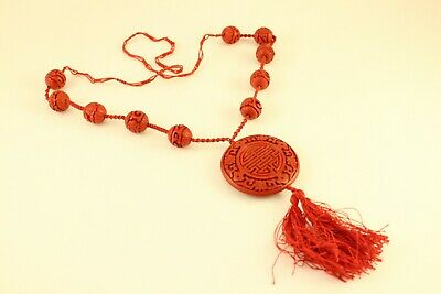 Antique Chinese Jewelry Carved Red Cinnabar Medallion Pendant Necklace On Silk