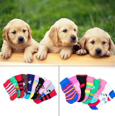 4* Cute Assorted Pattern Cat Pet Dog Puppy Non-Slip Shoes Slippers Socks Popular