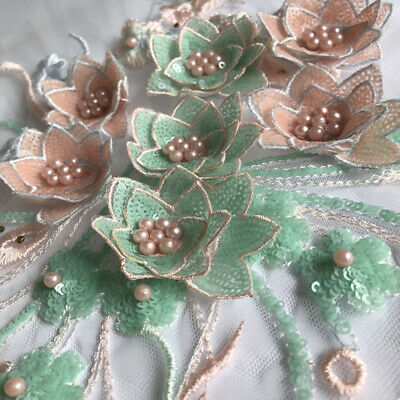 3D Flower Lace Embroidery Bridal Applique Beaded DIY Pearl Tulle Wedding  N2CX