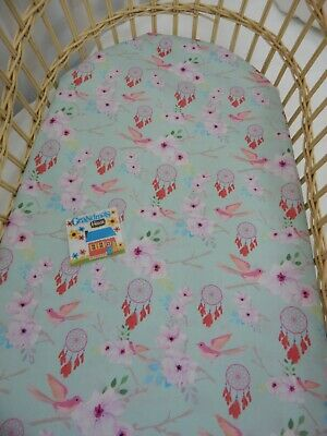 Bassinet Fitted Sheet Mint Dreamcatchers Flowers Cotton FITS STANDARD BASSINET