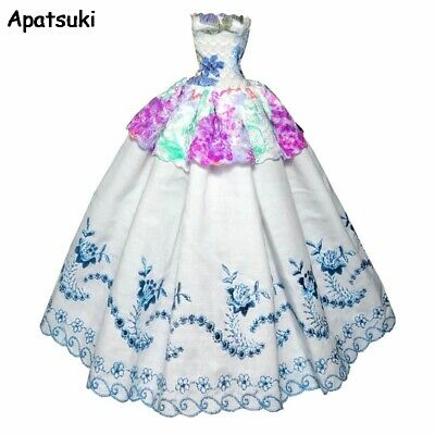 White Floral Fashion Doll Dress For Barbie Doll Clothes Party Gown Outfits Toy
