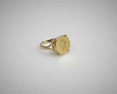1853 Liberty Head US$1 Gold Coin Pinky Ring in 9ct Gold Setting
