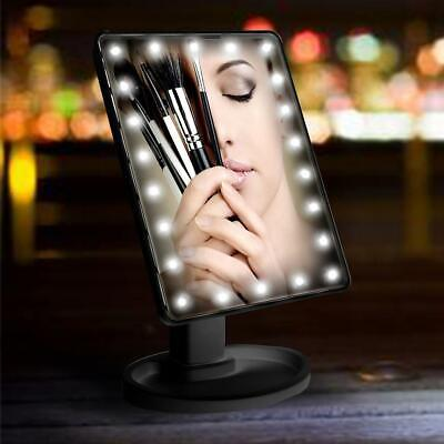 22 LED Touch Screen Makeup Mirror Tabletop Cosmetic Vanity light Up Mirror Black
