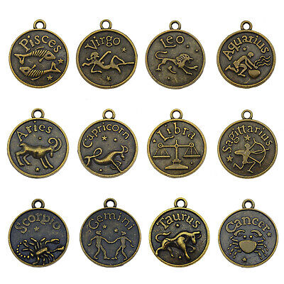 Wholesale Bronze 12 Zodiac Constellation Charm Pendant Jewelry Accessories 12pcs