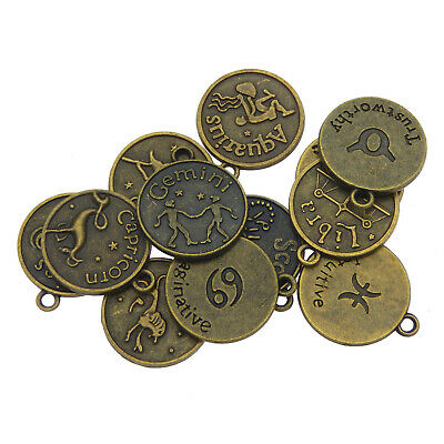 Retro Bronze Alloy 12 Zodiac Constellation Dangle Charms Pendant DIY Accessories
