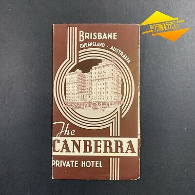 Vintage 1952 The Canberra Private Hotel Brisbane Original Brochure Flyer Tariffs