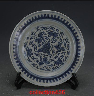 China antique Qing Dynasty Hand drawn Blue and white Crane grain Porcelain plate