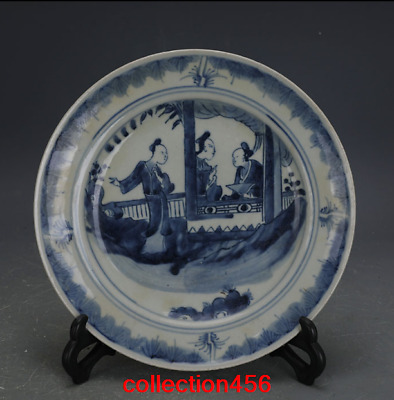 China old antique Qing Dynasty Blue and white Character pattern Porcelain plate