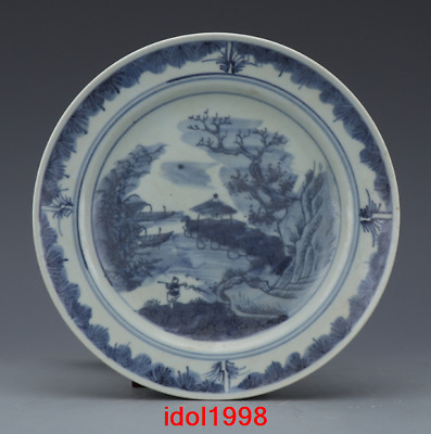China old antique Qing Dynasty Blue and white Hand drawn shan water Fruit tray