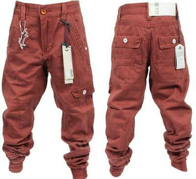 ETO Boy's Cuffed Chino Boy's Jeans Stylish Kids Casual Pants Rust Red 8-10year