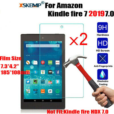 2X Premium Genuine Tempered Glass Screen Protector for Amazon Kindle Fire 7 2019