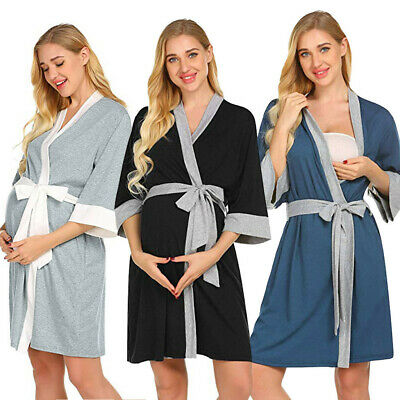 Women Maternity Nursing Robe Nightgowns Hospital Breastfeeding Dress With Belt