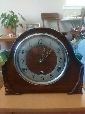 Vintage Bentima Mantle 8 Day Chiming Clock, No  Key For Repair