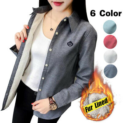 Womens Fleece Fur Lined Thermal Winter Warm Tops Slim Fit Blouse Casual Shirt