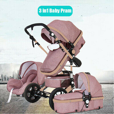 3IN1 Folding Newborn Baby Pram Stroller High View Carriage Buggy With Car Seat
