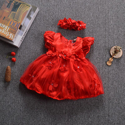 Flower Dress Princess Hot Baby Pageant Formal Kids Party Wedding Lace Newborn