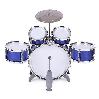 New Blue Drum Set 5 Piece Junior Complete Kids Kit with Cymbal Stool Sticks UK