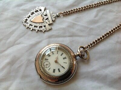 Antique Silver Remontoir 10 Rubis Cylinder Pocket Watch On Double Albert Chain.