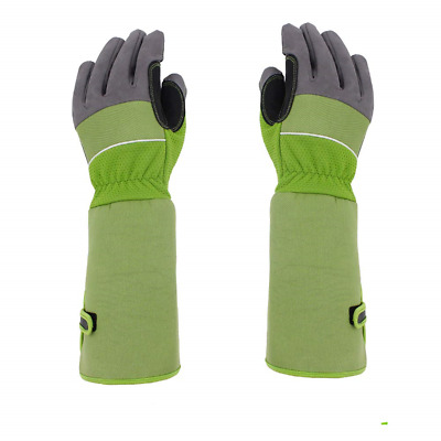 Heavy Duty Long Gardening Gloves, Artificial Leather Gauntlet Rose Pruning Thorn