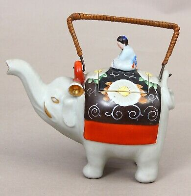 Asia Porcelain teapot China Japan hand painted gilded Early 20th century