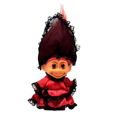 Vintage Russ Troll With Red Dress & Black Lace Veil Red Hair Brown Eyes 4 Inch