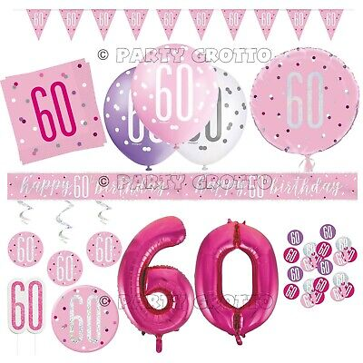 "6 x 60th Birthday Pink Colour 11/"" Latex Balloons Party Age 64923"