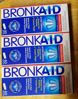 3 Boxes of Bronkaid 180 Caplets Total - Next Day Shipping!