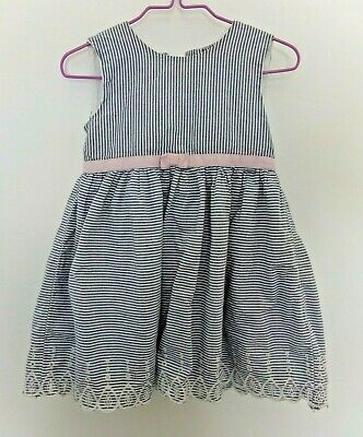 M&S Baby Girls Blue White Striped Sleeveless Lined Dress Age 12-18 Months