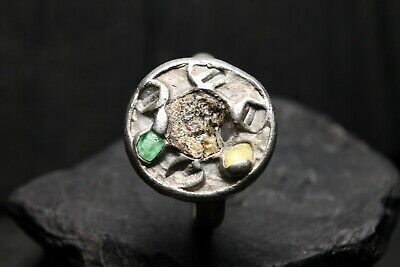 Unique Viking Silver Stone Ring , Authentic Artifact, 6th-11th Century AD.