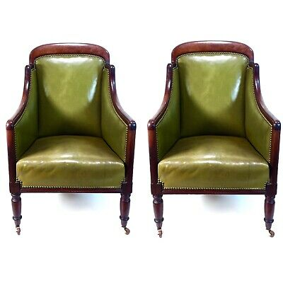 Antique Mahogany Framed Club Fauteuil Armchair Pair / Chairs / Green Leather