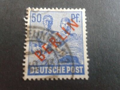 Berlin / Germany 1949 used 50pf stamp with red Berlin o/p