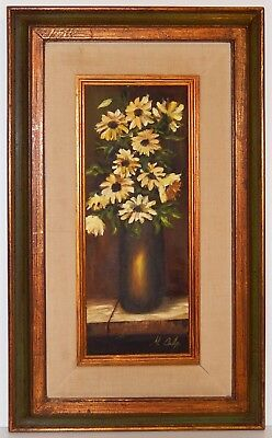 Mid Century Oil Painting Yellow Flower Still Life Signed Culp Painted Wood Frame