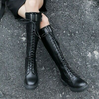 Women Punk Leather Lace Up Side Zip Knee High Thigh Boots Combat Low Heel Shoes