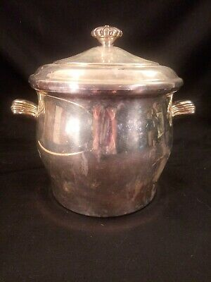 Vintage Wm. Rogers & Son Paul Revere #27 Silver Plated Ice Bucket Glass Liner
