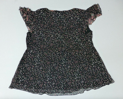 Motherhood Maternity Shirt Womens Large Sheer Black & Pink Floral Lined EUC
