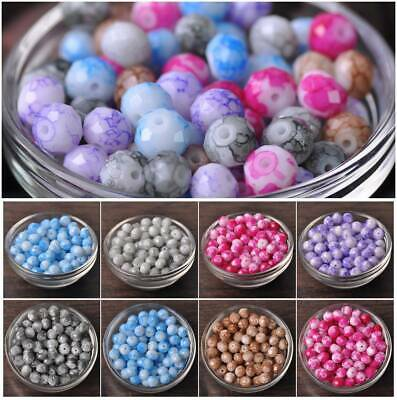 6mm 8mm 10mm 100pcs Marble Coated Rondelle Faceted Glass Loose Spacer Beads lot