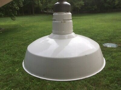 Vintage Retro Enamel Lamp Shade Reflectors Farmhouse Industrial