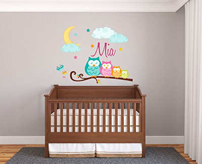 Personalized Name Family Of Owls - Prime Series - Baby Girl - Nursery Wall Decal