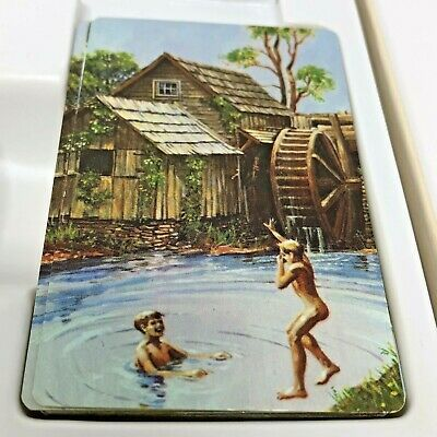 Vintage Hallmark Bridge Set 70s Skinny Dipping Playing Cards Box Double Deck